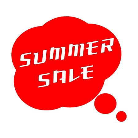 Summer SALE TEXT White Wording on Speech Bubbles Red Background
