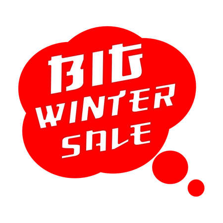 big winter SALE TEXT White Wording on Speech Bubbles Red Background