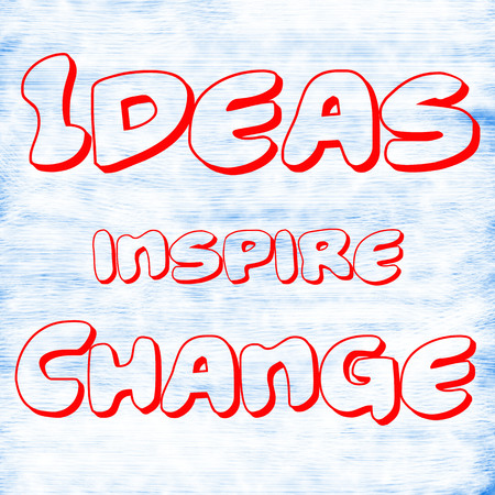 Ideas inspire Change.Creative Inspiring Motivation Quote Concept Red Word On White-Blue background skin,scratch Stock Photo