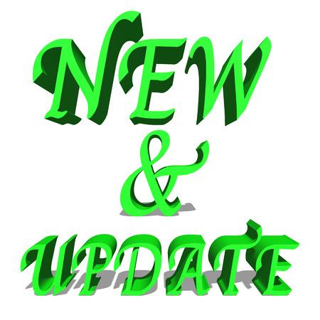 stereoscope: New & Update Green word on white background illustration 3D rendering Stock Photo