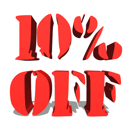 10% off red word on white background illustration 3D rendering Stock Photo