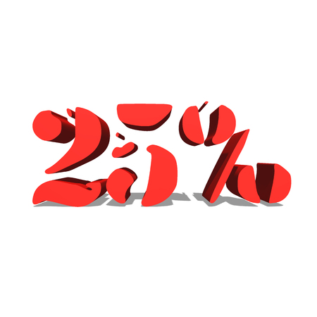 25% red word on white background illustration 3D rendering Stock Photo