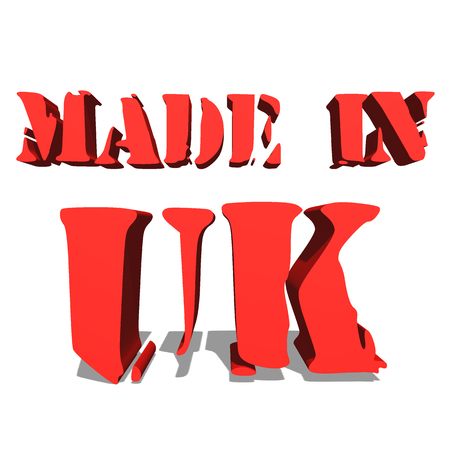 MADE IN UK red word on white background illustration 3D rendering Stock Photo