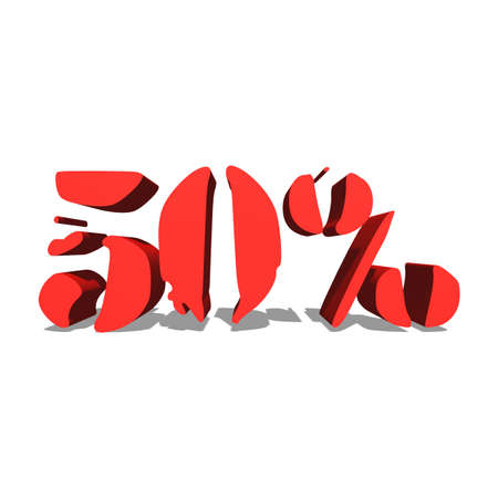 50% red word on white background illustration 3D rendering