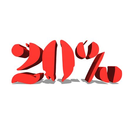 20% red word on white background illustration 3D rendering