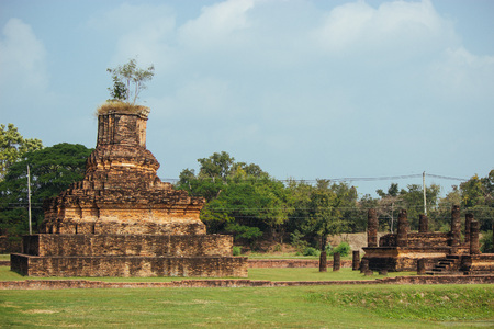 Beautiful landscape of ancient  temple in sukhothai-historypark ,Sukhothai, Thailand