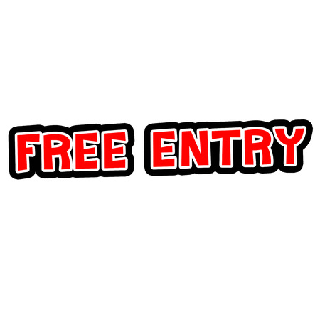 FREE ENTRY Red-White-Black Stamp Text on white backgroud