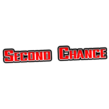 Second chance Red-White-Black Stamp Text on white backgroud