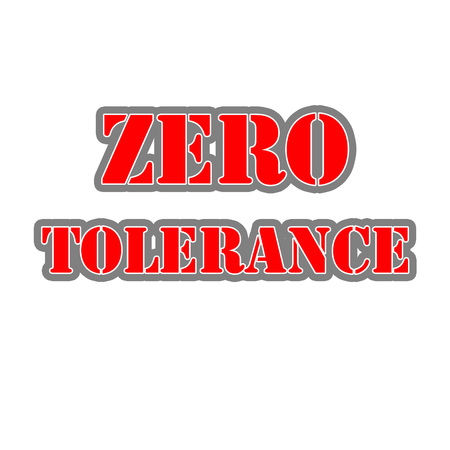 ZERO TOLERANCE Red-White-Gray Stamp Text on white backgroud
