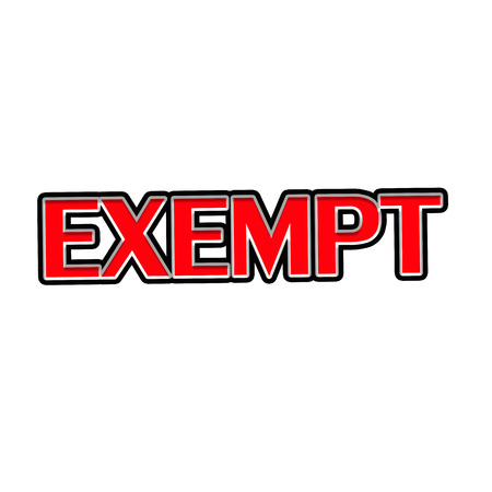 EXEMPT Red-White-Black Stamp Text on white backgroud 写真素材