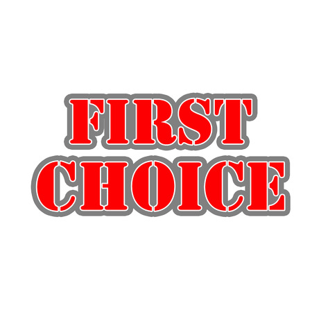first choice Red-White-Gray Stamp Text on white backgroud 写真素材