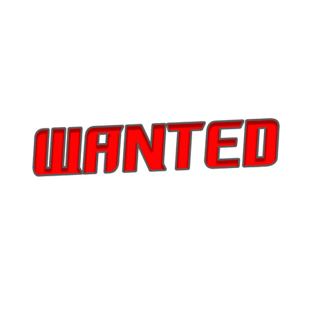 WANTED Red-Gray Stamp Text on white backgroud