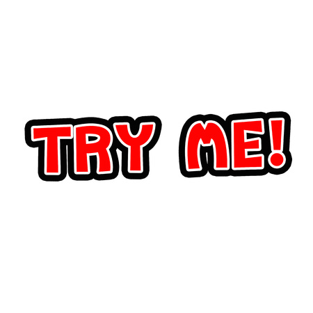 Try Me Red-White-Black Stamp Text on white backgroud