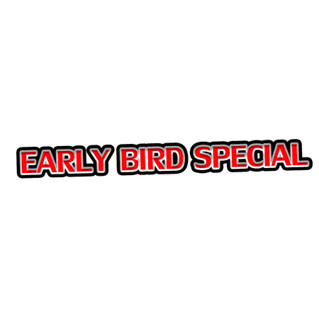 Early Bird Special Red-White-Black Stamp Text on white backgroud 写真素材