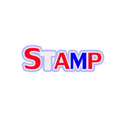 Stamp Red-White-Blue Stamp Text on white backgroud 写真素材
