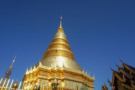 Beautiful landscape of ancient  temple in Wat Pratad hari phunchai   Temple, Lamphun, Thailand