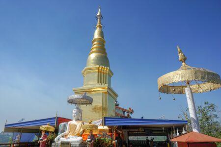 Beautiful landscape of ancient  temple in  watpanhamTemple,lamphun , Thailand