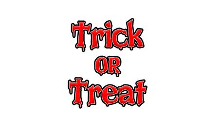 Trick or Treat Red-White-Black Stamp Text on white backgroud