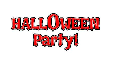Halloween Party Red-White-Black Stamp Text on white backgroud 写真素材