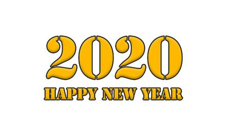 2020 happy new year  Yellow Black Stamp Text on white backgroud Banco de Imagens