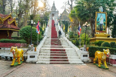 PHRAE, THAILAND - FEB 11, 2019 : Wat Phra That Cho Hae is an ancient holy temple in Phrae town. Tourists who come to Phrae must pay their respects to their own fortune. Redakční