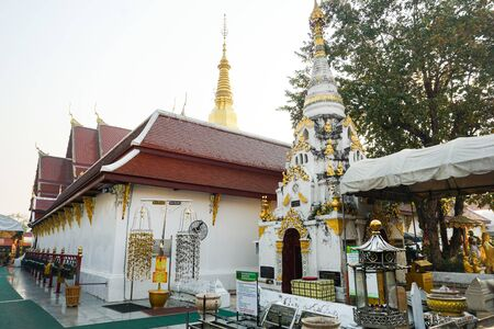 PHRAE, THAILAND - FEB 11, 2019 : Wat Phra That Cho Hae is an ancient holy temple in Phrae town. Tourists who come to Phrae must pay their respects to their own fortune. Editorial