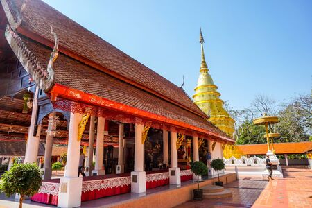10022019: wat-phra-that-jomthong , thailand : wat-phra-that-jomthong (Pagoda) Located at wat-phra-that-jomthong (Temple) landmark of province in phayao thailand.