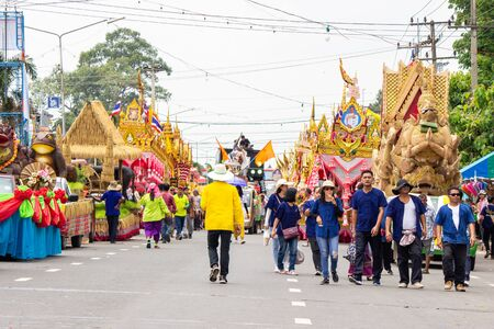 Yasothon, Thailand - May 11 2019: Traditional thai dance group at the parade at Thai Rockets festival (Boon Bang Fai) It is held every year around May at Yasothon in Esan, north east of Thailand Redakční