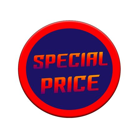 Special price Red-orange Sign or Stamp Text on Blue circle backgroud Stock Photo