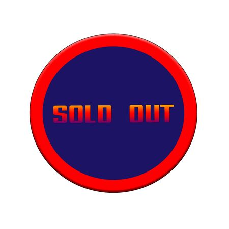 Red-orange Sign or Stamp Text on Blue circle backgroud Stock Photo