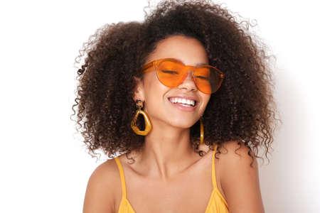 Smiling woman with orange eyeglasses. Reklamní fotografie