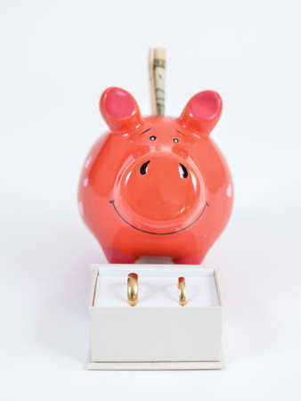 Wedding became more expensive than expected.Piggy bank smiling behind box with wedding rings. Vertical.