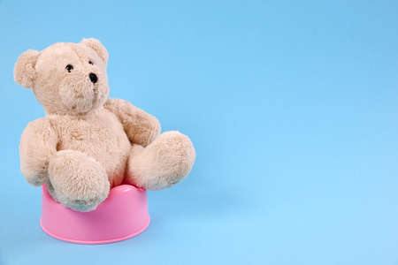 Concept for potty training. A teddy bear sitting on a pot. Blue background.