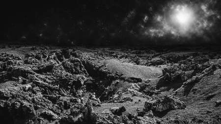 Moon landscape or remote alien planet concept. Image montage.