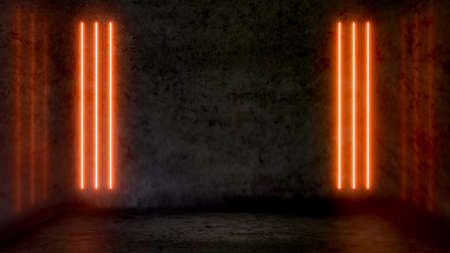 Empty dark abstract room with orange fluorescent neon lights. Stage, scene and night club party concept background with copy space for text or product display.
