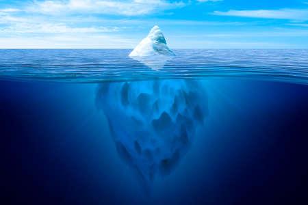 Topje van de ijsberg. Onderwater ijsberg drijvend in de oceaan. Stockfoto