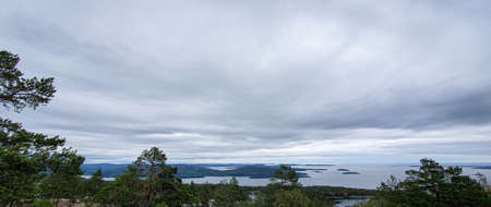 Beautiful view of archipelago, mountains, forest and sea. Skule Forest, High Coast in northern Sweden. Zdjęcie Seryjne