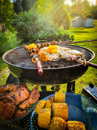 Assorted delicious grilled meat and vegetables over coal barbecue grill in sunny green garden.
