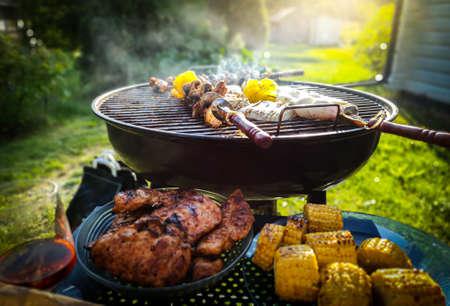 Assortiment de délicieuses viandes et légumes grillés sur un barbecue au charbon dans un jardin verdoyant et ensoleillé. Banque d'images