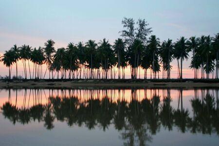 Sunrise along a river in Malaysia