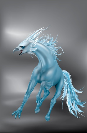 galop: vautour mythique cr�ature harpie-cheval de course au galop sauvage