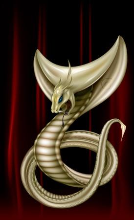cobra: intrecciato cobra anelli con il cofano aperto su uno sfondo scuro Vettoriali
