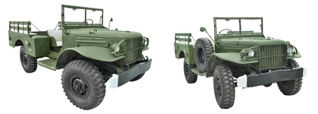 rarity: All-terrain autocar Dodge WC-51, time the Second World War, on a white background, side view