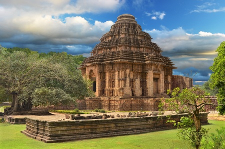 Ancient temple of the Sun God in Konark, Orissa, India  General view of temple photo