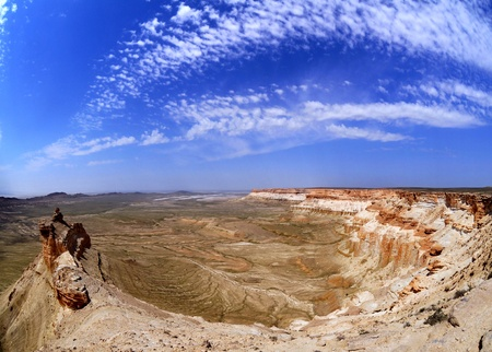 kazakhstan: Colorful panorama of rocky precipices in the mountains Ustyurt, northern Kazakhstan, the plateau