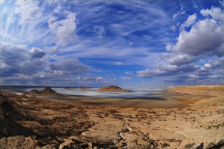 tethys: fantastic scenery on the plateau Ustyurt in Kazakhstan, depression Karynzharyk Stock Photo