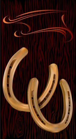 good luck charm: Two golden horseshoe on a black background with wooden texture. A horseshoe symbolize good luck.  Illustration