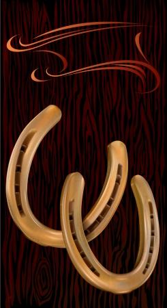 symbolize: Two golden horseshoe on a black background with wooden texture. A horseshoe symbolize good luck.  Illustration