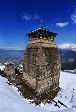 mahabharata: Tungnath is the temple of Lord Shiva in Himalaya, is located just below the peak of Chandrashila on a mountain ridge Tungnath  Uttarakhand, India