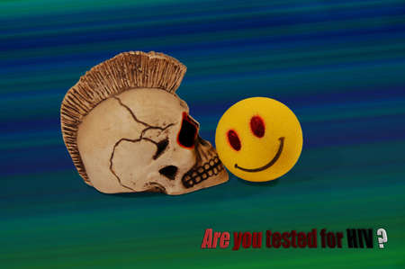 Skull and smile on iridescent background Stock Photo